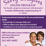 Savvy Caregiver Online program Aug 19 ad with mother and loving daughter