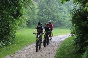 Mountain Bikers on a Trail