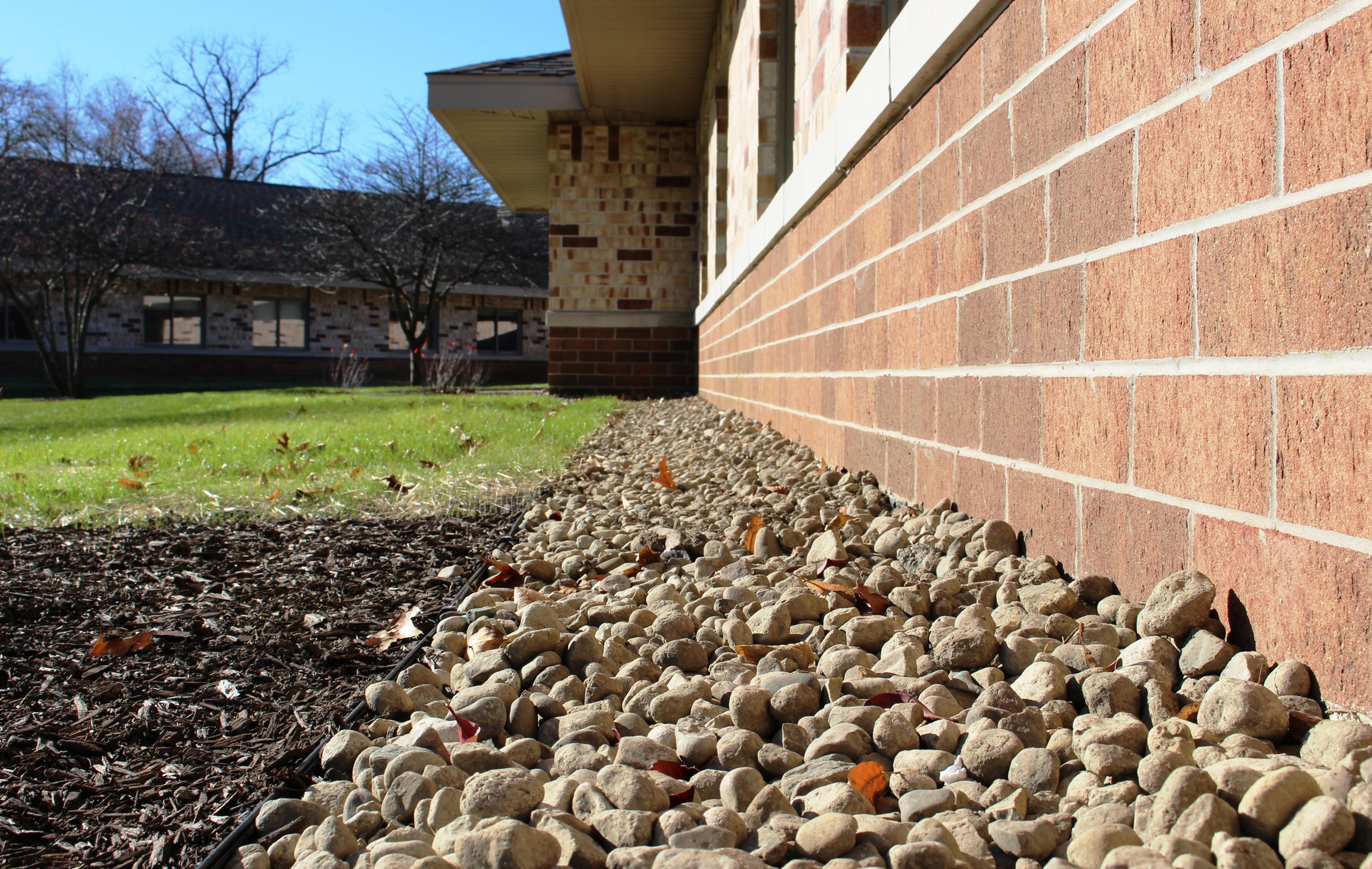 Repurposed landscaping stones at Brookside Care Center