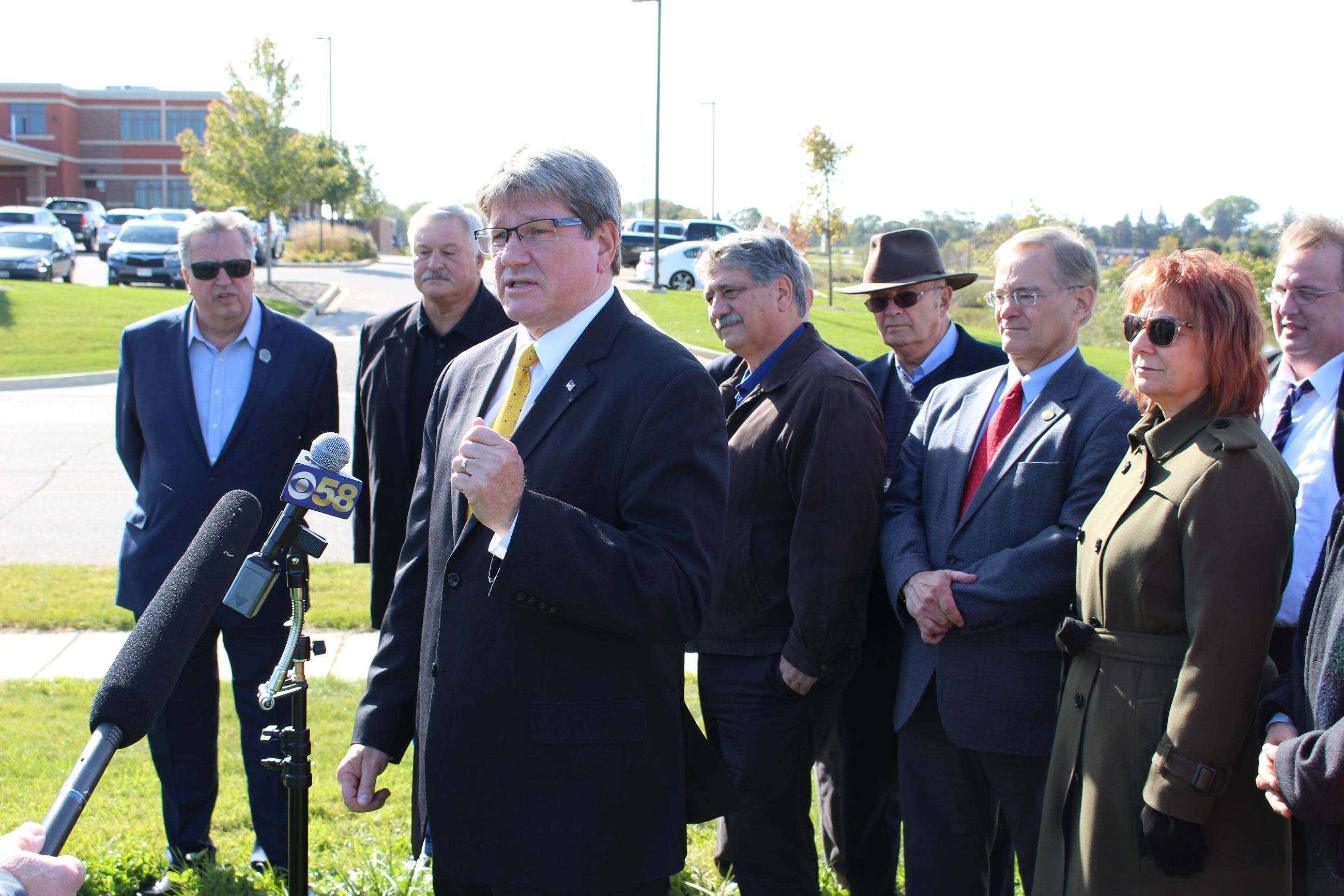County Executive Jim Kreuser speaking at dark stores news conference