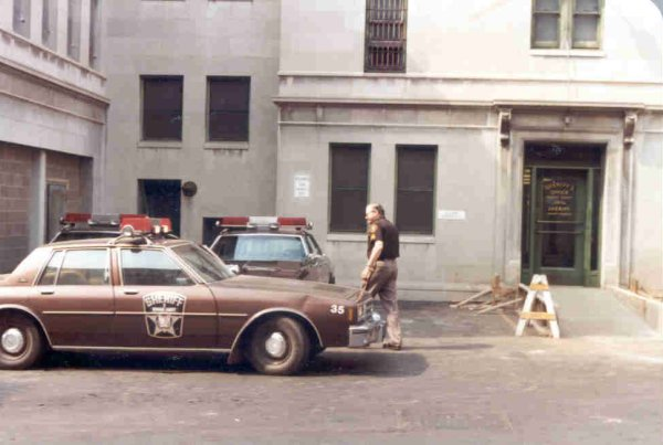 Sheriff's Department and Courthouse courtyard in the 1970s